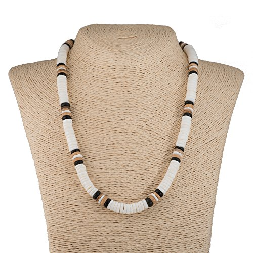 Natural Beads Shells Wood (Hawaiian Puka Shells Necklace with Coconut Wood Beads (Natural))