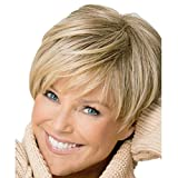 Western Inclined Bang Short Straight Wigs - 2017 new Stylish sexy Women's ladies Mix Blonde Natural Full Hair Wigs