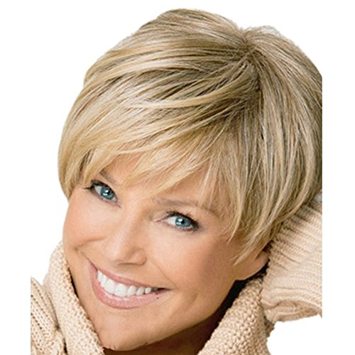Western Inclined Bang Short Straight Wigs - 2017 new Stylish sexy Women's ladies Mix Blonde Natural Full Hair Wigs - Ladies Blonde Wigs