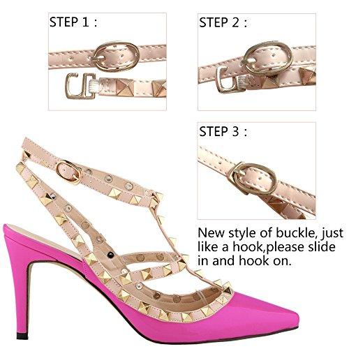 Loslandifen Dames Talons Hauts Partie Mariage Compte Chaussures De Pompe Violet