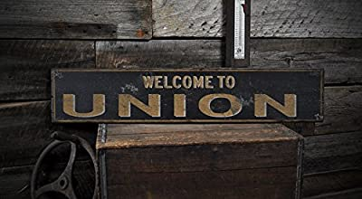 Welcome to UNION, KENTUCKY - Rustic Hand-Made Vintage US City Wooden Sign