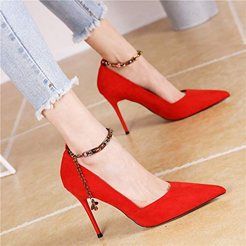 KPHY Stiletto Chain Shoes High Gules Suede Sexy Spring Elegant Thirty One Eight Summer Heeled Word Fashionable Ribbon wfYwqrA