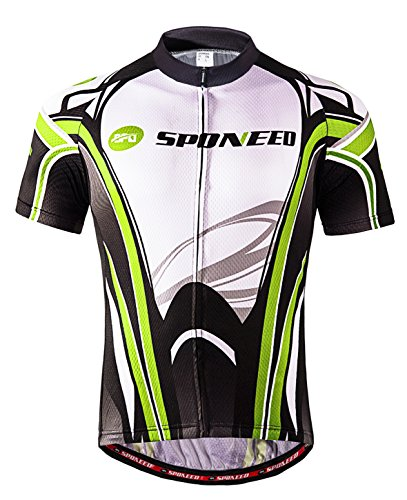 Sponeed Mtb Jersey Cycling Shirts for Men Road Bike Clothing Bicycling Sportwear Shirt Half Sleeve Asia L/US M Greenwhite (Bicycling Clothes)