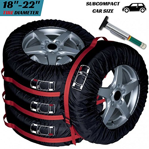 PANAMOO Tires Bag Tote Pack of 4 with Tire Tread Gauge