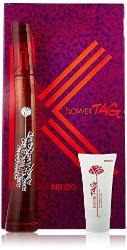 Kenzo Flower Tag 3 Piece Gift Set for Women (Eau de Toilette Spray Plus After Shave Balm Plus Pouch)