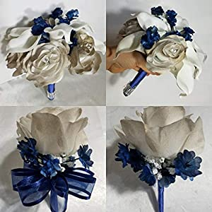 Champagne Navy Blue Rose Calla Lily Bridal Wedding Bouquet & Boutonniere 1