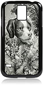 Vintage Puppy- Case for the Galaxy S5 i9600- Hard Black Plastic Snap On Case Outer Shell with Inner Soft Black Rubber Lining