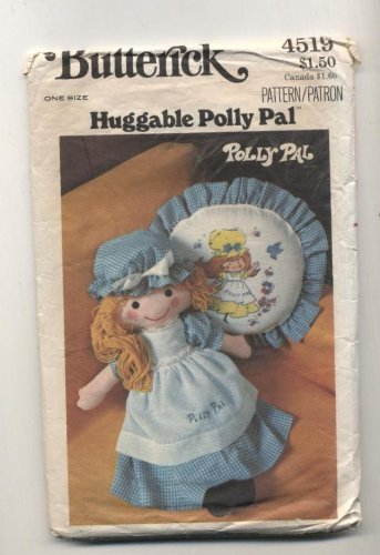 Vintage Butterick 4519 Polly Pal Stuffed Doll, Clothing and Pillow Sewing Pattern by Butterick Pattern (Polly Pals)