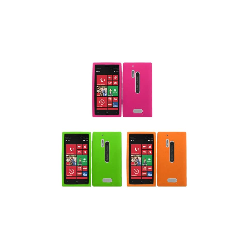 iFase Brand Nokia Lumia 928 Combo Solid Hot Pink Silicon Skin Case Faceplate Cover + Solid Neon Green Silicon Skin Case Faceplate Cover + Solid Orange Silicon Skin Case Faceplate Cover for Nokia Lumia 928 Cell Phones & Accessories