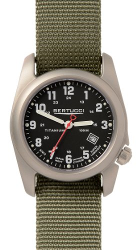 BERTUCCI A-2T Classic Field Watch Black/Ti-Drab Band 12723