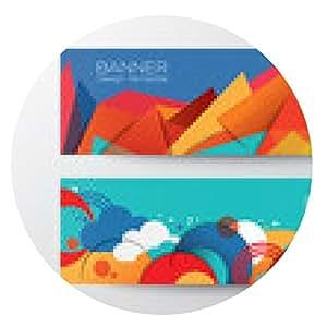 alfombrilla de ratón plantilla de diseño de banners colorido abstracto del polígono - ronda - 20cm