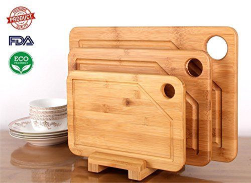 Premium Bamboo Cutting Board - 3 Set (Large, Medium and Small with the Holder) (Resource Wood Cutting Board)