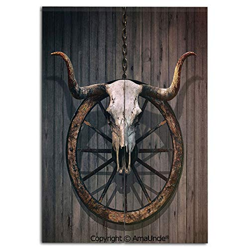 (Cute Doorway Curtain Screen,Modern Room Divider Curtain,Long Horned Bull Skull and Old West Wagon Wheel on Rustic Wall Decorative(31.5x47.2 Inches),Hanging Curtain for Bedroom Living Room Kitchen Cafe)