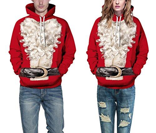 Xl D S Beard Ugly Unisweatshirt Big Hooded Print Pullover Leezeshaw Santa Xmas Christmas With