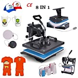 Superland Power Heat Press 8 in 1 Industrial-Quality 12-by-15-Inch Multifunctional Sublimation T-Shirt Hat Mug Heat Press Machine (8 in 1: 12'' x 15'')