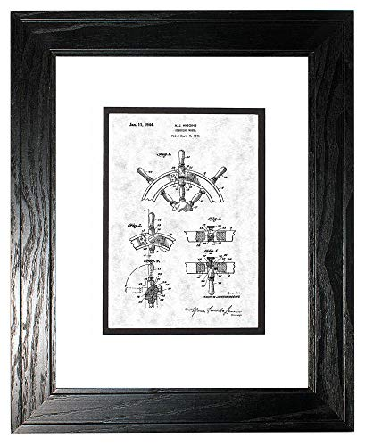 Boat's Steering Wheel Patent Art Gunmetal Print in a Black Pine Wood Frame with a Double Mat (11