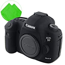 First2savv XJPT-5D3GJ-01G11 black Rubber Camera Case Bag full cover for Canon EOS 5D Mark III . 5D Mk3 . 5DS . 5DSR .5DR + cleaning cloth