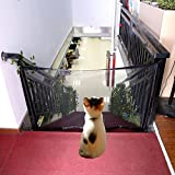 Norbi Magic Gate for Dogs Portable Folding Mesh Gate Safe Guard for Indoor Use Guardrail for Dogs(Black,M)