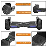 NHT Hoverboard - All Terrain Rugged 8.5 Inch Wheels Off-Road Electric Smart Self Balancing Scooter with Built-in Bluetooth Speaker LED Lights - UL2272 Certified, Black