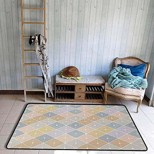 Custom Door Rugs for Home Rugs Abstract Modern and Soft Toned Geometrical Tiles with Rhombus Forms Artsy Illustration Durable W55 xL63 Multicolor