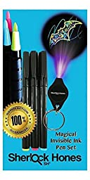 Sherlock Hones Magical Invisible Ink Pen Set with UV Dark Light on Keychain, 3-Pack