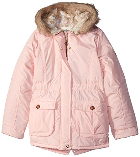 Jessica Simpson Big Girls' Faux Fur Hood Rail Quilted Heavyweight Parka, Pink, (Fur Heavyweight Parka)