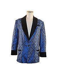 Smoky Joe's Clothing - Men's Blue Brocade Smoking Jacket