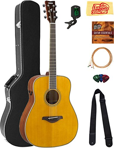 Yamaha FG-TA Transacoustic Guitar - Vintage Tint Bundle with Hard Case, Tuner, Strings, Strap, Picks, Austin Bazaar Instructional DVD, and Polishing Cloth (Best Vintage Yamaha Acoustic Guitars)