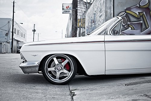 Chevrolet Impala White Retro Muscle Car Lowrider Poster