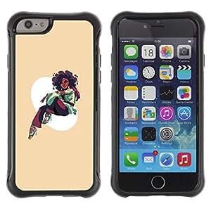ZAKO CASES / Apple Iphone 6 / Afro Girl / Robusto Prueba de choques Caso Billetera cubierta Shell Armor Funda Case Cover Slim Armor