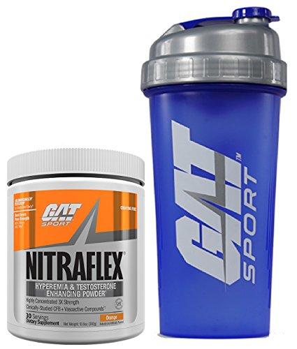 GAT Clinically Tested Nitraflex, Testosterone Enhancing Pre Workout 300 g (30 servings) with BONUS GAT Shaker Bottle (Orange) Review