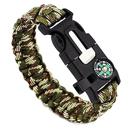et allume-feu Pour ext/érieur noir et vert. Lot de 2/bracelets de survie para avec sifflet grattoir