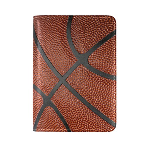 ALAZA Retro Basketball Print Travel Passport Covers Holder Microfiber Leather Clutch Purse Handbag Passport Wallet