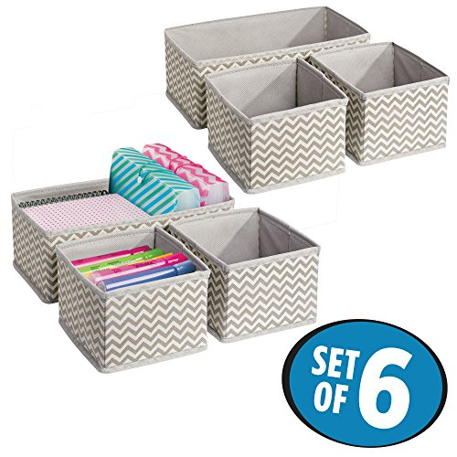mDesign Chevron Fabric Desk Drawer Storage Organizer for