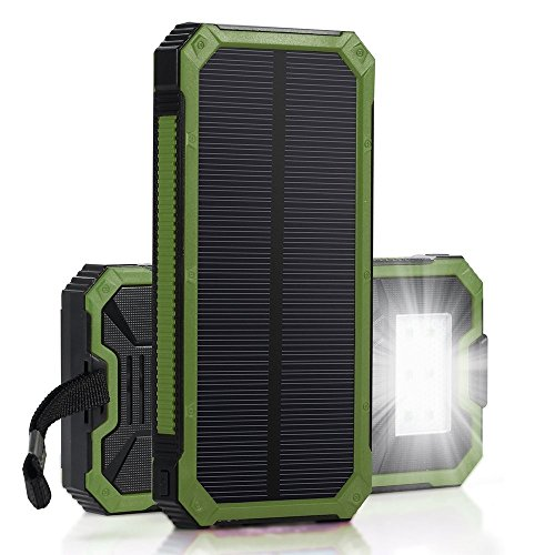 Price comparison product image RDT Universal Solar Charger 20000mAh Solar Panels Power Bank External Battery Packs Charger Rainproof Portable Hook Dual USB Phone Charger for iPad/iPhone/Samsung/Camera(Green)