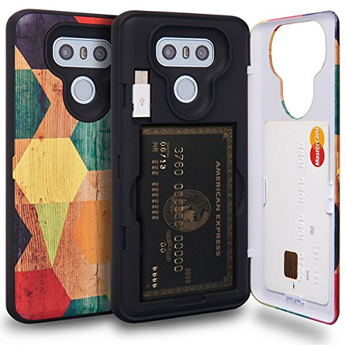 (TORU CX Pro LG G6 Wallet Case Pattern Colorful with Hidden ID Slot Credit Card Holder Hard Cover, Mirror & USB Adapter for LG G6 / LG G6 Plus - Wood Geo)