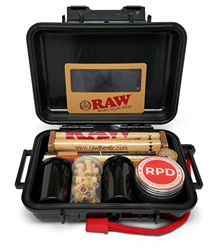 Bundle - 11 Items - Rolling Paper Depot RAW Smoker's Kit - Includes Air Tight Carrying Case, Rolling Papers, Cigarette Maker, Pre Rolled Tips Grinder and More (Tobacco Products)