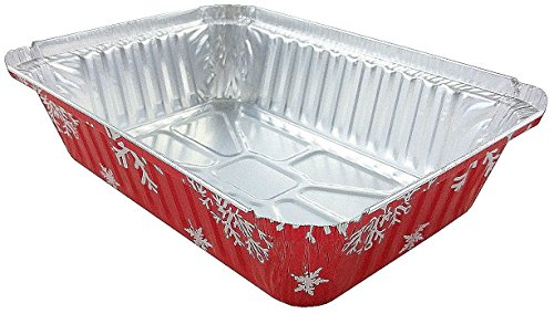 Durable Packaging 2 1/4 lb. Oblong Holiday X-Mas Foil Pan w/Clear Dome Lid - Red Aluminum (pack of 100) by Durable Packaging (Image #3)
