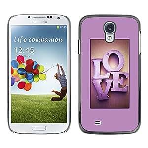TopCaseStore / la caja del caucho duro de la cubierta de protección de la piel - Love Pink Purple Text Letters Honey Couple - Samsung Galaxy S4 I9500