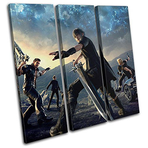 Bold Bloc Design - Final Fantasy XV XBOX ONE PS4 PC Gaming 90x90cm TREBLE Canvas Art Print Box Framed Picture Wall Hanging - Hand Made In The UK - Framed And Ready To Hang