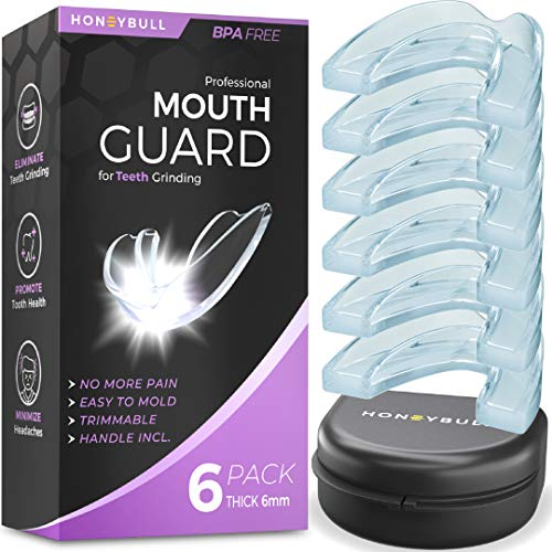 HONEYBULL Mouth Guard for Grinding Teeth [6 Pack] 1 Size for Heavy Grinding   Comfortable Custom Mold for Clenching at…