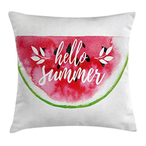 Ambesonne Lifestyle Decor Throw Pillow Cushion Cover, Watercolor Watermelon Figure with Hello Summer Motivation Quote Paint Print, Decorative Square Accent Pillow Case, 18 X 18 Inches, Red Green by Ambesonne