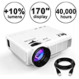 DR.J (2018 Upgraded) +10% Lumens 4Inch Mini Projector with 170 Display - 40,000 Hour LED Full HD Video Projector 1080P, Compatible with Amazon Fire TV Stick, HDMI, VGA, USB, AV, SD for Home Theater