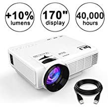 "DR.J (2018 Upgraded) +10% Lumens 4Inch Mini Projector with 170"" Display - 40,000 Hour LED Full HD Video Projector 1080P, Compatible with Amazon Fire TV Stick, HDMI, VGA, USB, AV, SD for Home Theater"