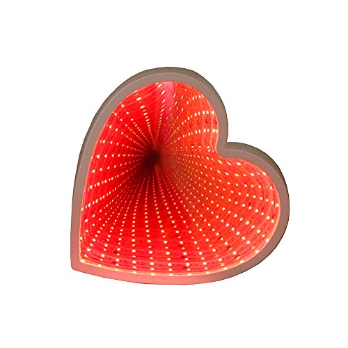 Heart Neon Lights GUOCHENG Tunnel Lamp 3D Infinity Mirror Light Decor Light LED Night Light Wall Table Lamp Battery Operated Decoration for Bedroom, Party, Christmas, Kids Birthday Gift (Red) by GUOCHENG