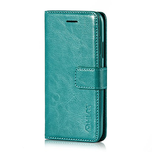 Price comparison product image iPhone X Case, HLCT PU Leather Case, With Soft TPU Protective Bumper, Built-In Kickstand, Cash And Card Pockets (Teal)