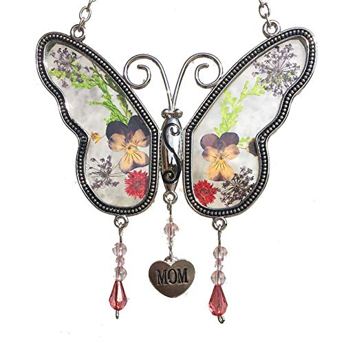 (Mom Butterfly Suncatchers Glass Mother Wind Chime with Pressed Flower Wings Embedded in Glass with Metal Trim Mom Heart Charm - Gifts for Mom -Mom for Birthdays Christmas (Mom) )