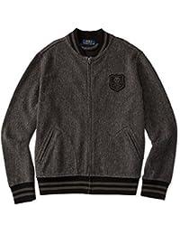 Polo Ralph Little Boys\u0027 Full Zip Baseball Jacket, Charcoal Grey