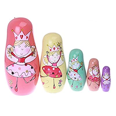 Cute Colorful Dancing Angel Princess Handmade Wooden Russian Nesting Dolls Matryoshka Dolls Set 5 Pieces For Kids Girl Toy Birthday Christmas Gift Kids Room Decoration