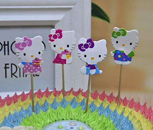 (24x Cupcake Topper Picks -hello kitty Themed Cupcake Toppers For Kids)